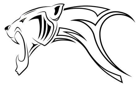 jaguar: Leopardo de vector, tatuaje tribal Vectores