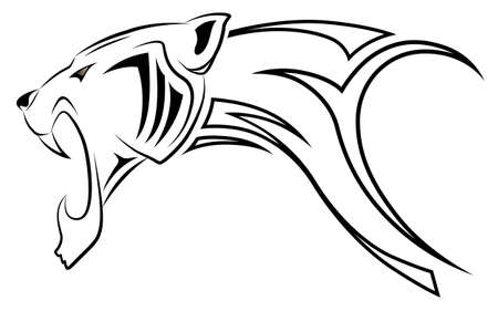 Vector leopard, tribal tattoo