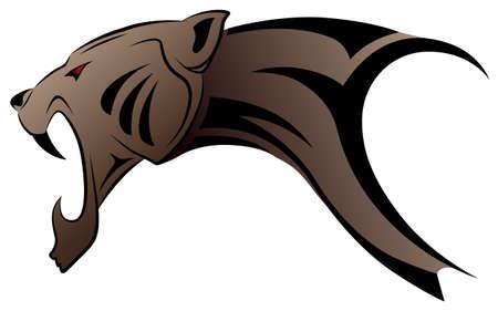 jaguar: Leopardo de vector ejecutado en forma de un tatuaje tribal Vectores