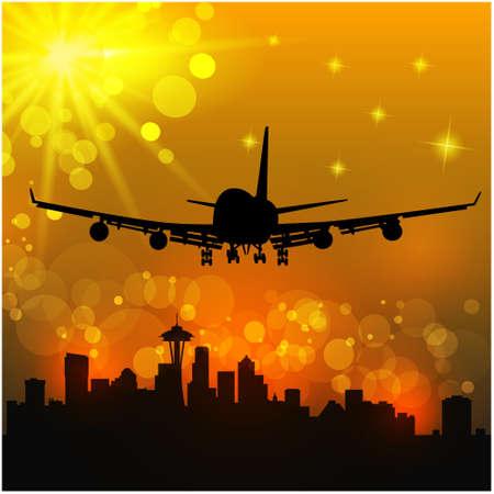 takeoff: Illustrazione vettoriale della compagnia aerea e la citt�