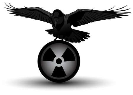 afbeelding van een raaf over straling symbool Vector Illustratie