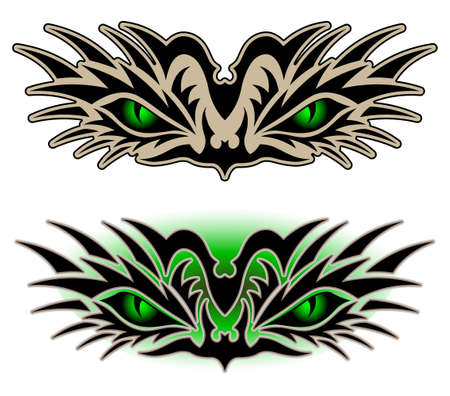 wildcat: Eyes of a reptile, tribal tattoo