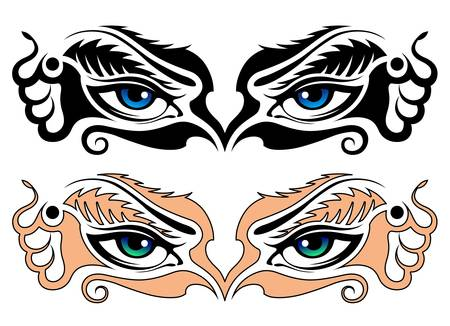 eye tattoo: Vector, abstract image of eyes of the girl Illustration