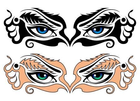 tattoo girl: Vector, imagen abstracta de los ojos de la ni�a Vectores