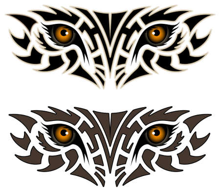 Eyes of an animal, tribal tattoo Illustration
