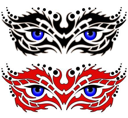 Eyes, tribal tattoo
