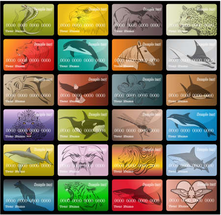 Big set of business cards depicting various animals