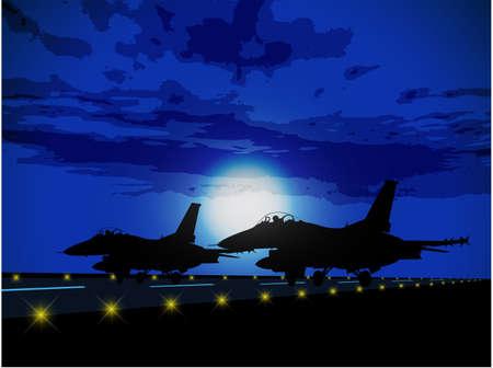 avion de chasse: Silhouettes d'avions militaires contre la lune