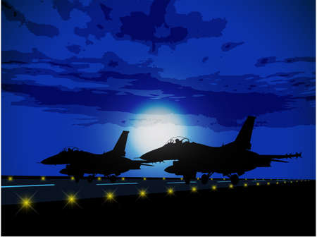 the air attack: Silhouettes of military planes against the moon