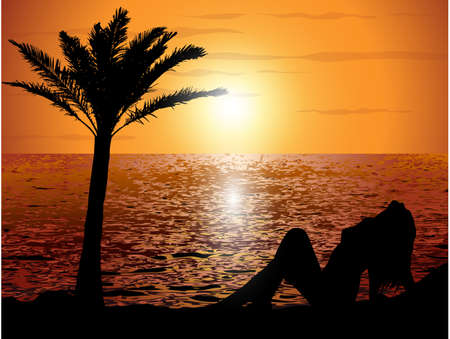 romantic getaway: Sunset on the beach with a girl