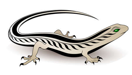 color tribal tattoo: Lizard vector