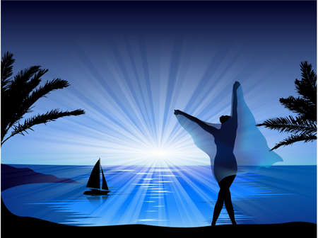 Sunset on the beach with a girl Stock Vector - 13663982
