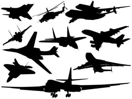 aircraft bomber: Set of different aircraft Illustration