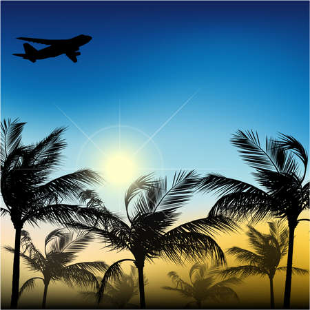 Palm trees against the sky and the sun of an airplane Ilustração