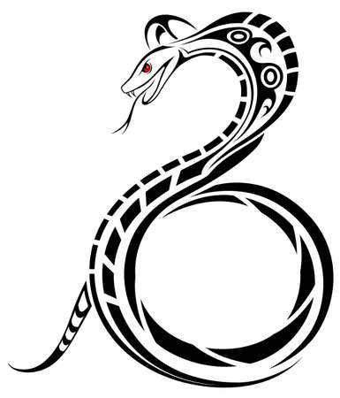 venomous snake: Snake, Cobra in the form of a tribal tattoo Illustration