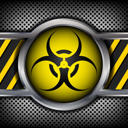 nuclear reactor: Biohazard sign on a metal background Illustration