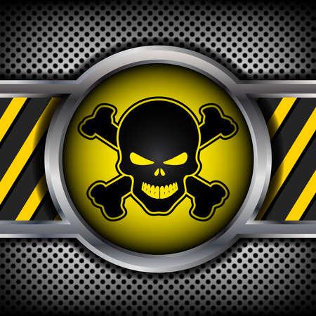 industrial danger: Se�al de peligro con un cr�neo sobre un fondo de metal