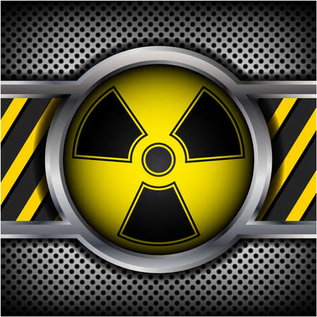atomic symbol: Radiation sign on a metal background