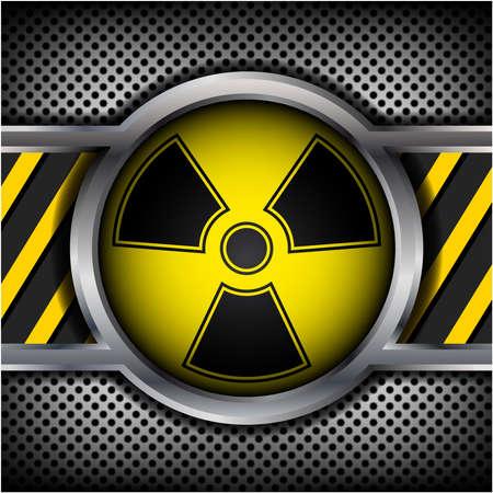 bombe atomique: Signe de rayonnement sur un fond m�tallique Illustration