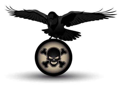 Vector raven on danger symbol Stock Vector - 15399360