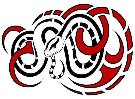 Snake, in the form of a tribal tattoo Stock Vector - 15595674