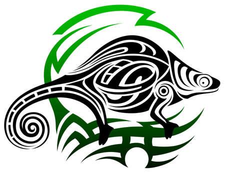 chameleon lizard: camaleonte, tatuaggio tribale Vettoriali