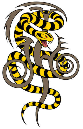 slither: Snake in the form of a tattoo Illustration