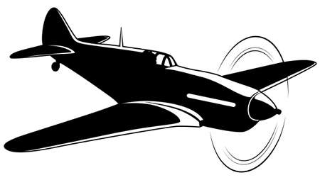 Vector silhouette of the old fighter airplane Ilustração