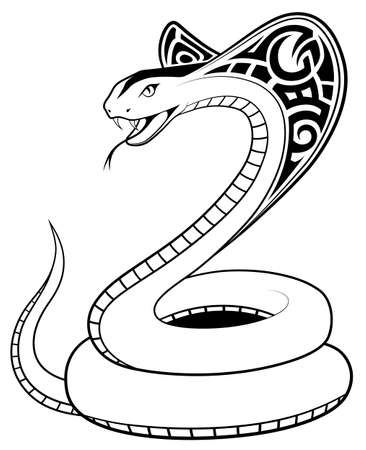 Snake, Cobra in the form of a tattoo Vector