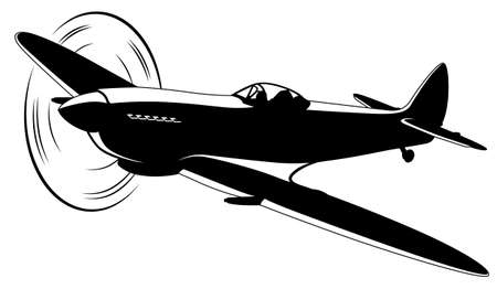 Vector silhouette of the old fighter airplane Illustration
