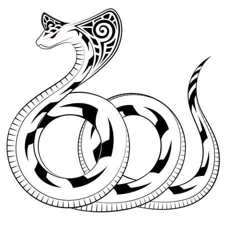 serpiente cobra: Serpiente, Cobra en la forma de un tatuaje tribal