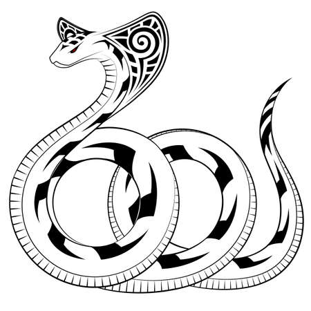 serpents: Snake, Cobra in the form of a tribal tattoo Illustration