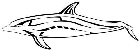 Vector dolphin, tribal tattoo