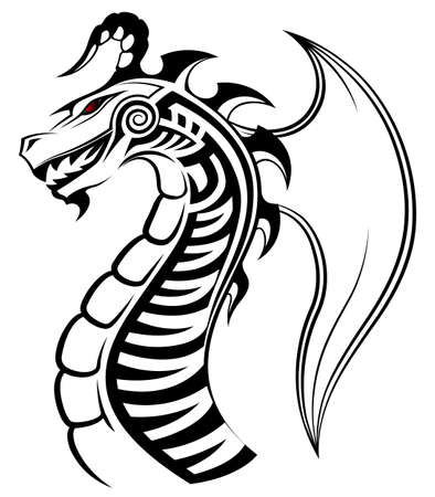 Vector image of a dragon as a tattoo