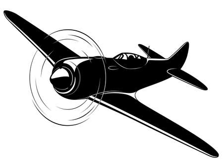 Vector silhouet van de oude gevechtsvliegtuig