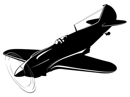 military silhouettes: Vector silhouette of the old fighter plane