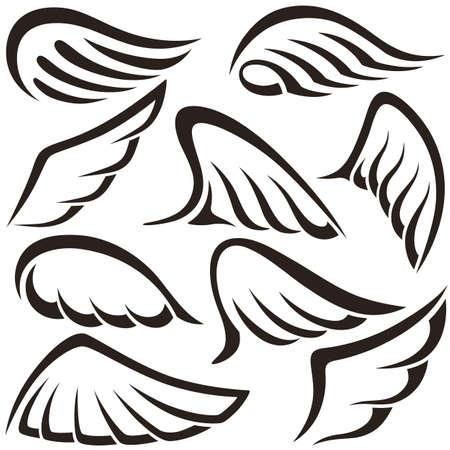 Vleugels. Set van design elementen. vector illustratie