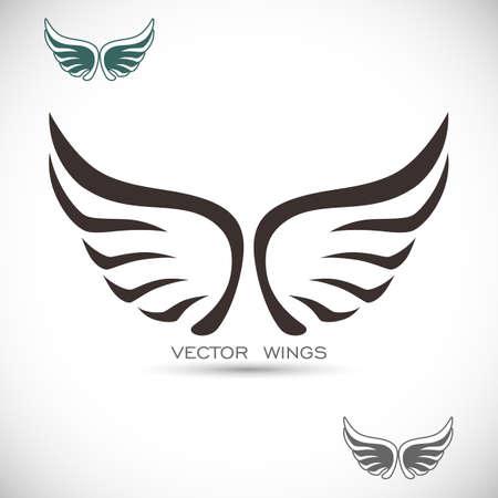 alas de angel: Etiqueta con alas Vectores