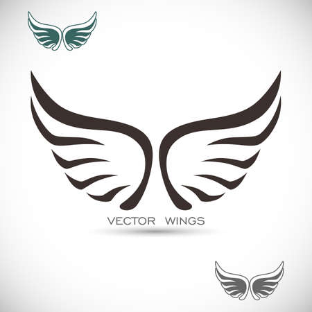 wings angel: Label with wings Illustration