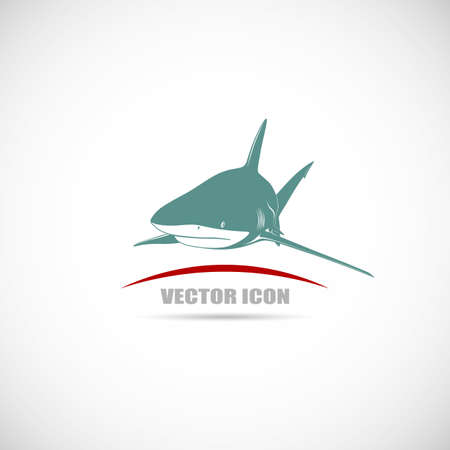 Label with shark Vector