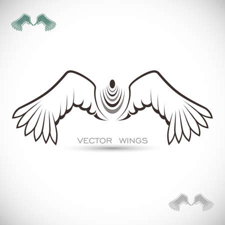 vector art: Label with wings Illustration