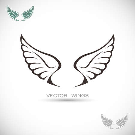 angel white: Label with wings Illustration