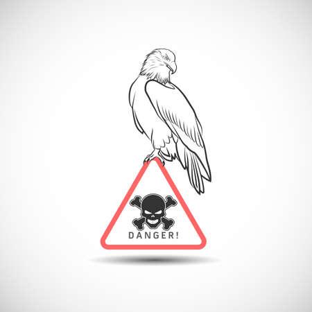 Adler, der auf dem Aufkleber mit einem Schädel sitzt
