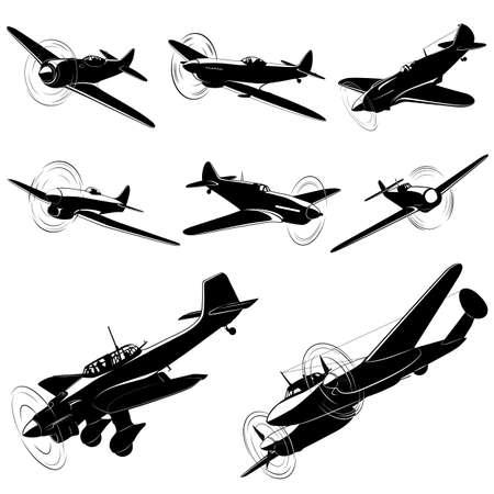 古い戦闘機のベクトルシルエットのビッグセット  イラスト・ベクター素材