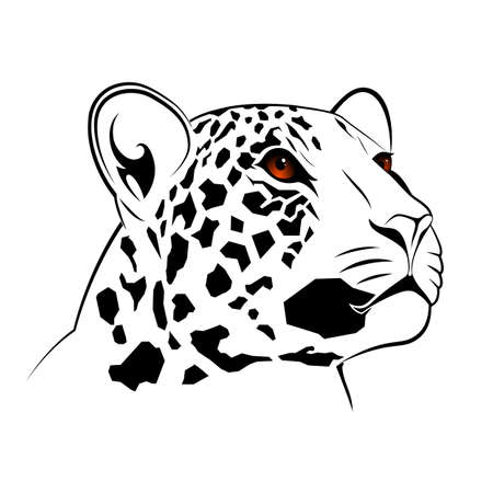 Vector leopard executed in the form of a tribal tattoo 일러스트