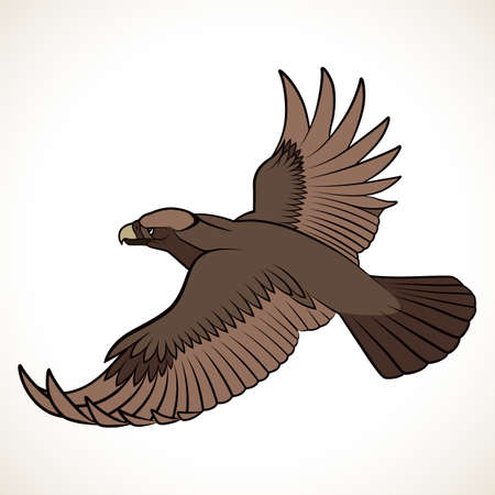 Abstract eagle in the form of a tattoo Vector illustration. Иллюстрация