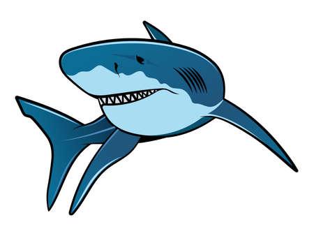 Illustrazione vettoriale di squalo isolato su sfondo bianco