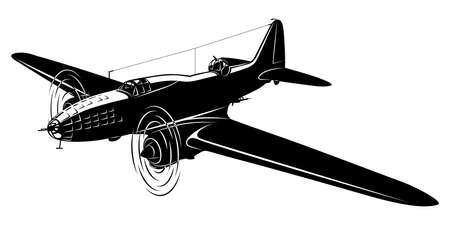 Vector silhouette of the old bomber airplane