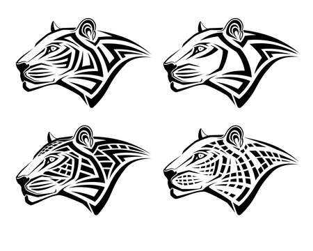 Set of different leopards in the form of tribal tattoos Banque d'images - 137864674