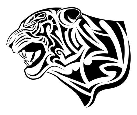 Abstract tiger in the form of a tribal tattoo Vecteurs